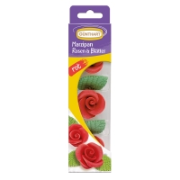 16 Marzipan roses with leaves, red