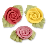 54 pcs Sugar roses with leaves