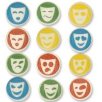 144Sugar round plaques masks,  assorted