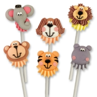 96 pcs Sugar animal faces on plastic stick