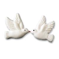 84 pcs White sugar doves, flat