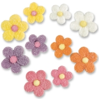 120 pcs Small and large sugar flowers, assorted