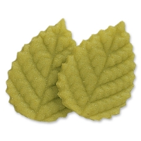 Large marzipan rose leaves, green