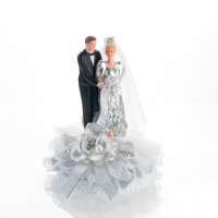 1 pcs Silver wedding couple, porcelain