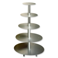 5 pcs tier silver metal stand with central holes