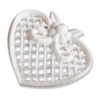 9 pcs Filigree heart, white, lage