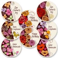 12 pcs  Happy Birthday  sugar coating plaques