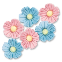96 pcs Large sugar flowers, blue and pink