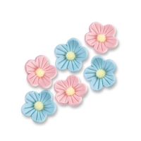 96 pcs Small sugar flowers, blue and pink