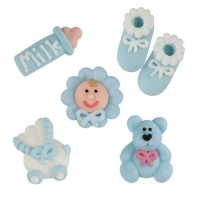 96 pcs Sugar christening set, blue