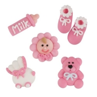 96 pcs Sugar christening set, pink