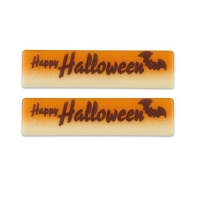 64 pcs Plaque  Happy Halloween , white chocolate