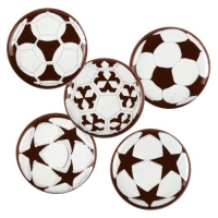 200 pcs Soccer-plaques, dark chocolate, assorted