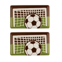 100 pcs Soccer-plaques, dark chocolate