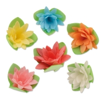 100 pcs Dahlia Wafers with leafes, assorted