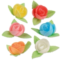80 pcs Flower Wafers with leafes, big