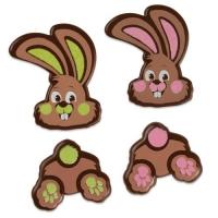 96 pcs Bunny parts, dark chocolate, assorted