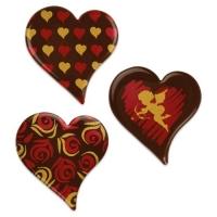 96 pcs Hearts, dark chocolate, assorted
