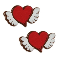 128 pcs Heart with wings, dark chocolate