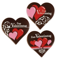 "Heart ""Zum Valentinstag"", dark chocolate"
