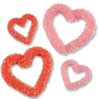 Small & large crystalized sugar hearts, red & pink
