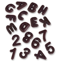 410 pcs Letters A-Z and numbers 0-9, dark chocolate, various