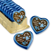 "Big praline hearts ""for the dearest dad"""