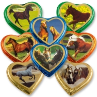 40 pcs Large Chocolate Hearts   Horses