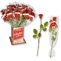 20 pcs Roses rouges sur tige avec dictons