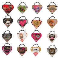 16 Emotion-heart with sayings, assorted with pralines