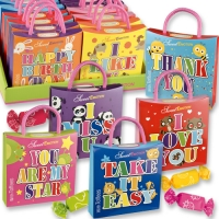 16 pcs Emotion bags  animals  with sayings, with chewy sweets