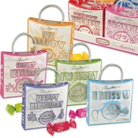 16 pcs Emotion bags  faces  with sayings, with chewy sweets