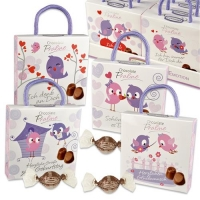 12 pcs Praline box  birds  with sayings, filled with pralines