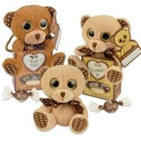 12 pcs Plush bear brown in box, filled with pralines