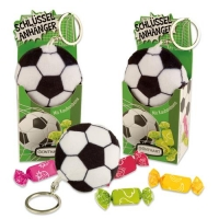 12 pcs Plush pendant  Football  in box, with fruit toffees