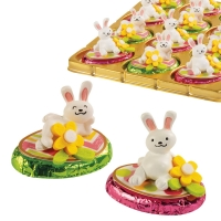 12 pcs Poly bunny on praline egg, asstd.