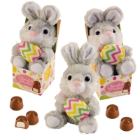 12 pcs Plush bunny in box filled with pralines