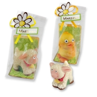 12 pcs Marzipan lamb and chicken in cellophane bag