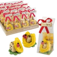 32 pcs Marzipan lucky symbole in plastic bag, in tray