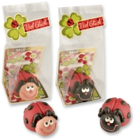 24 pcs Marzipan ladybirds in cellophan bag and tray
