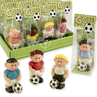 12 pcs Marzipan footballer in cellophan bag and tray, assorted
