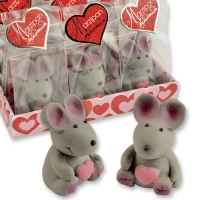 12 pcs Marzipan mouse in cellophan bag and tray