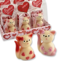 12 pcs Marzipan cat in cellophan bag and tray