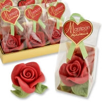 12 pcs Marzipan rose red, large, in cellophan bag and tray