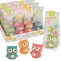 12 pcs Marzipan owls in cellophane bag and tray, assorted