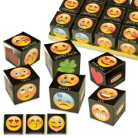 24 pcs Dice  Emoticons , assorted, filled  with napolitans