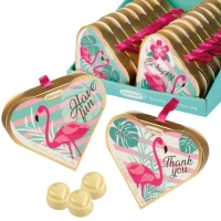 16 pcs Heart praline gift Flamingo, with chocolate pralines