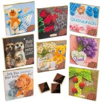 16 pcs Choco praline box with emotion sayings, assorted