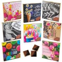 16 pcs Choco praline box with sayings   Birthday  , assorted