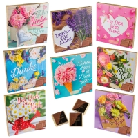 16 pcs Choco praline box with sayings   Flowers  , assorted